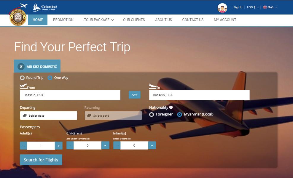 Columbus air ticket website image